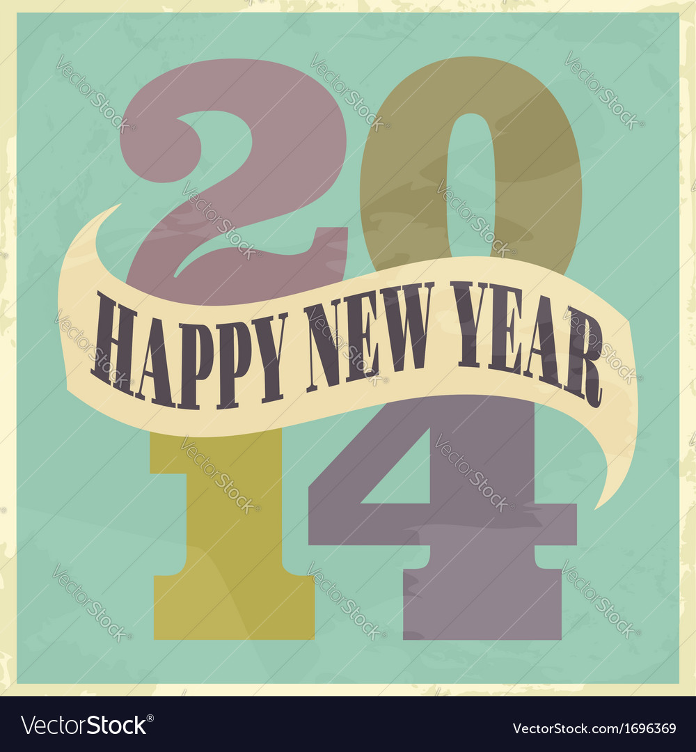 Happy new year 2014 vintage style greeting card vector | Price: 1 Credit (USD $1)