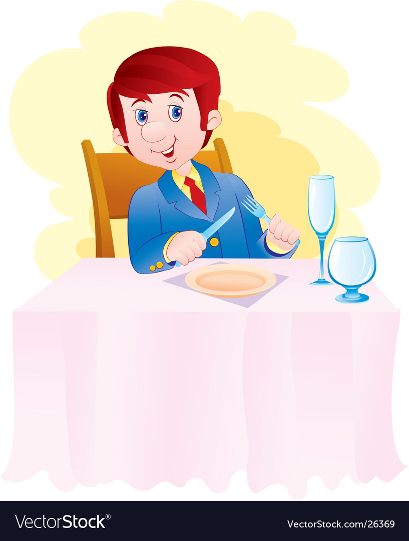 The having dinner person vector | Price: 3 Credit (USD $3)