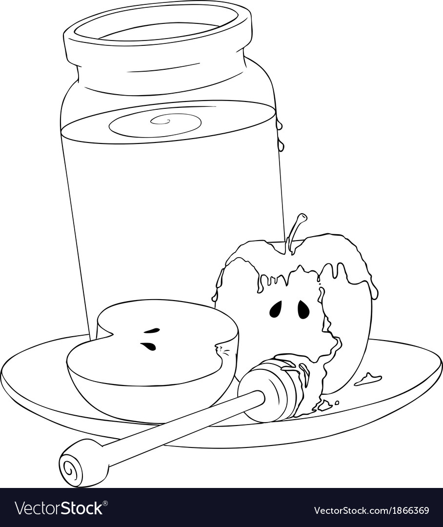 Rosh hashanah honey jar and apples coloring page vector | Price: 1 Credit (USD $1)