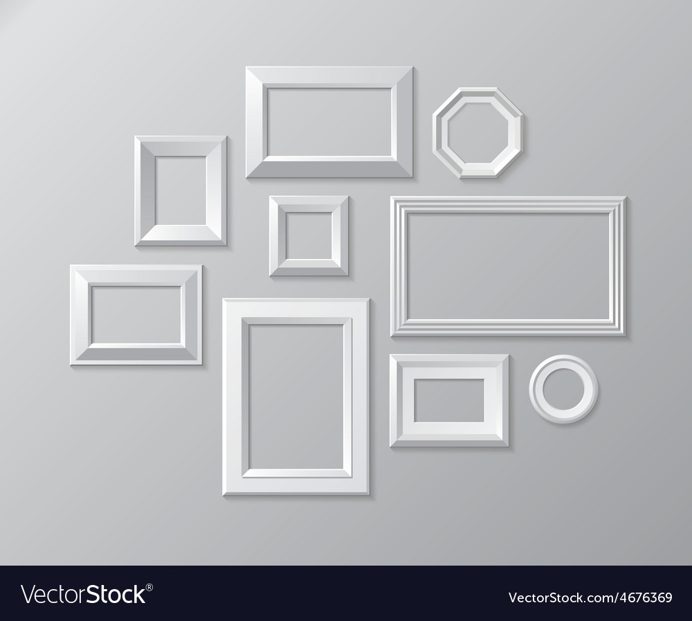 Set of white photo frames on the wall vector | Price: 1 Credit (USD $1)