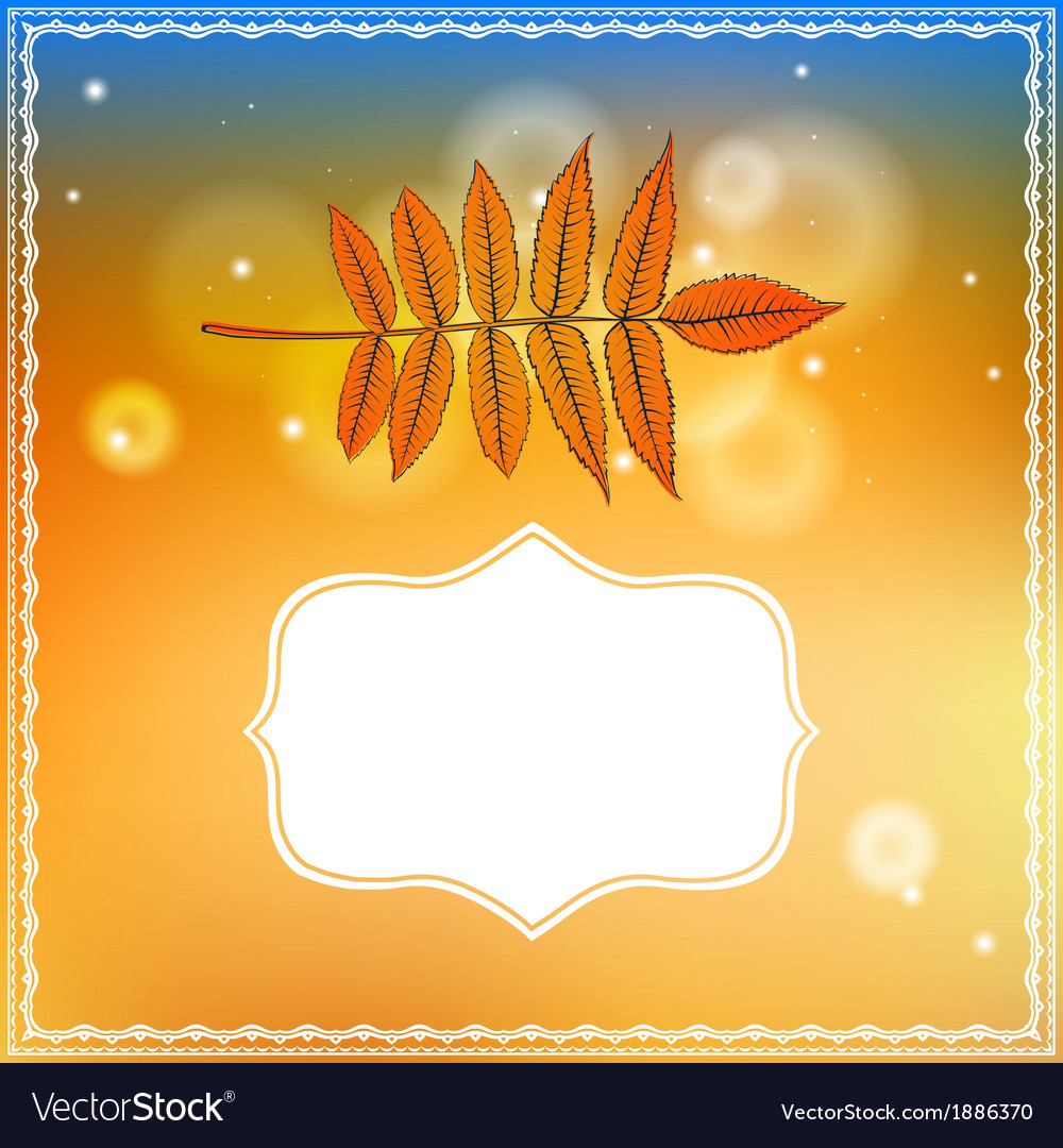 Autumn card with falling leaf and bokeh lights vector   Price: 1 Credit (USD $1)
