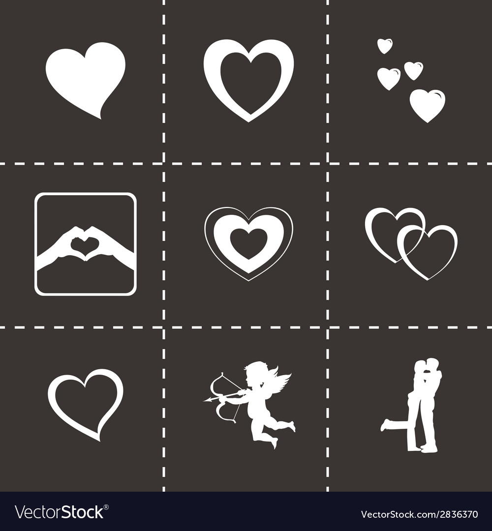 Black love icons set vector | Price: 1 Credit (USD $1)