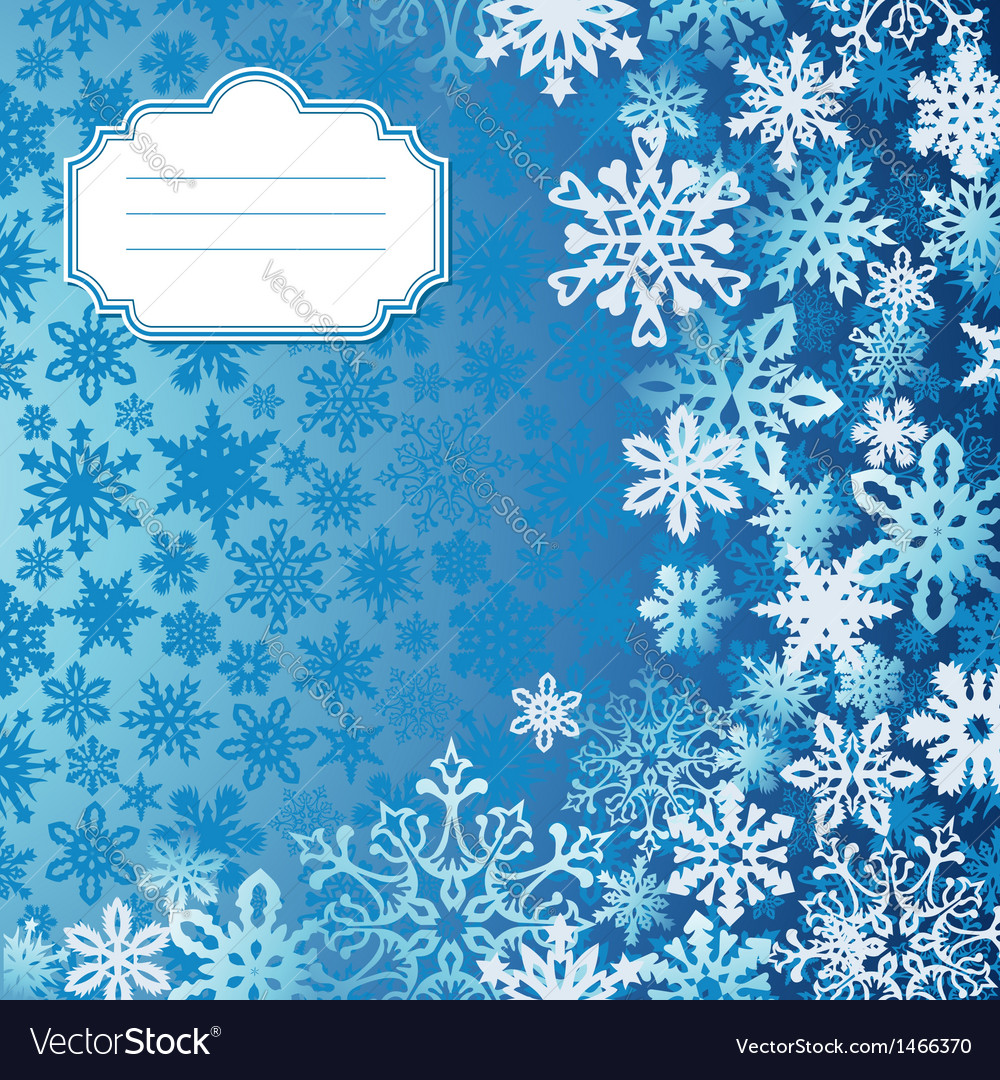 Blue christmas snowflakes background greeting card vector | Price: 1 Credit (USD $1)