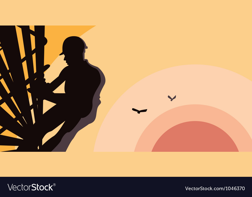 Construction worker at dusk vector | Price: 1 Credit (USD $1)