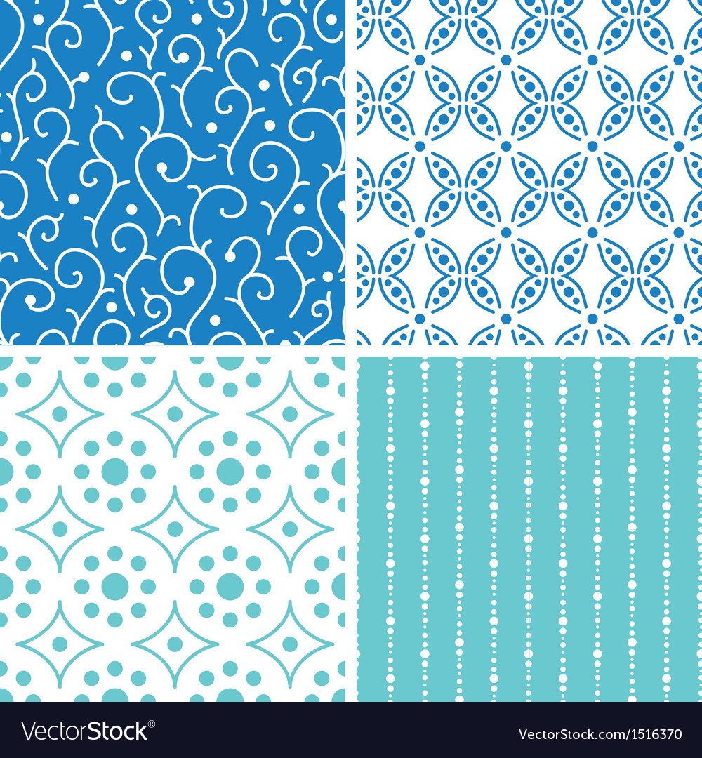Four abstract doodle motives seamless patterns set vector | Price: 1 Credit (USD $1)