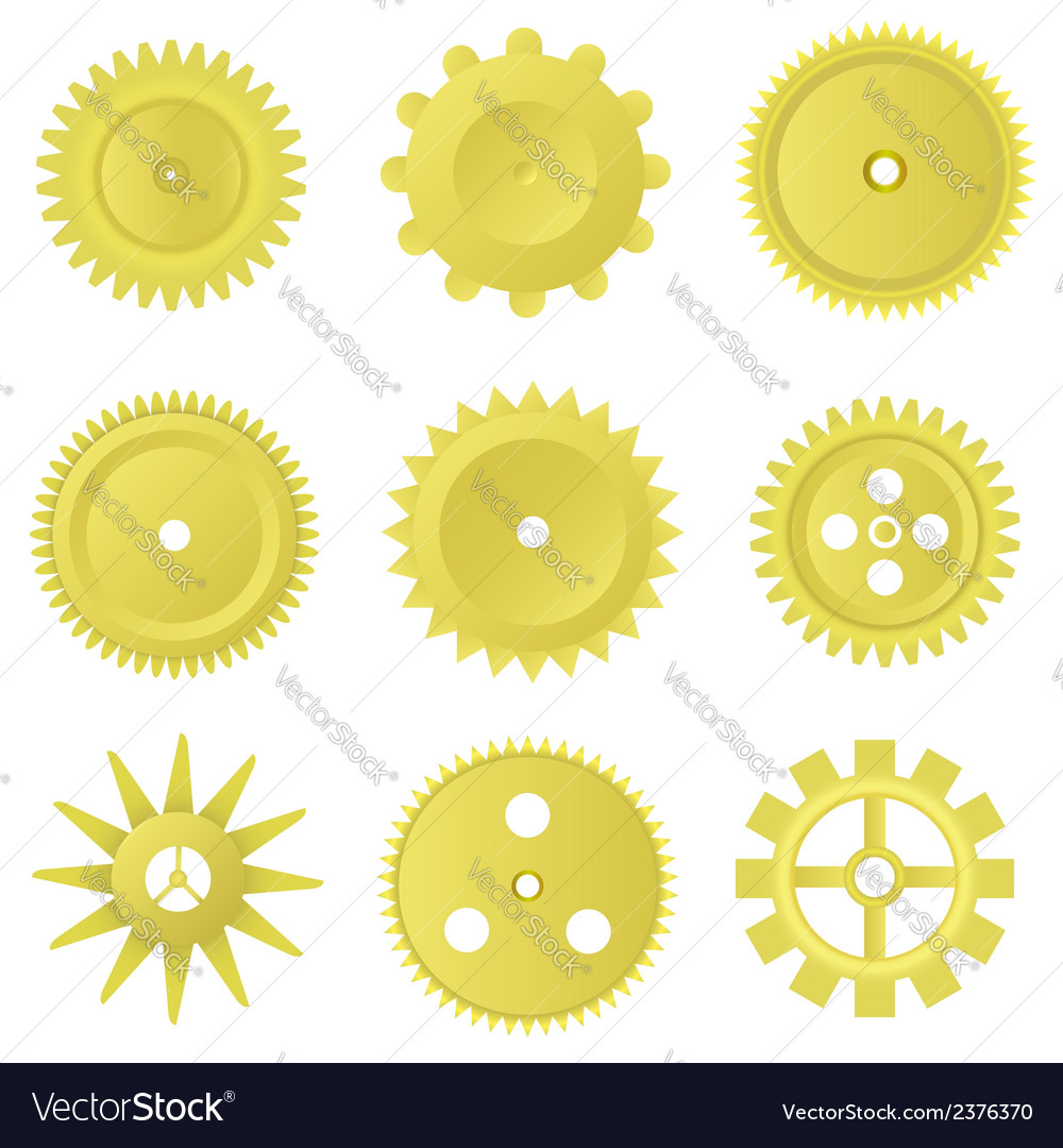 Golden gear set vector | Price: 1 Credit (USD $1)