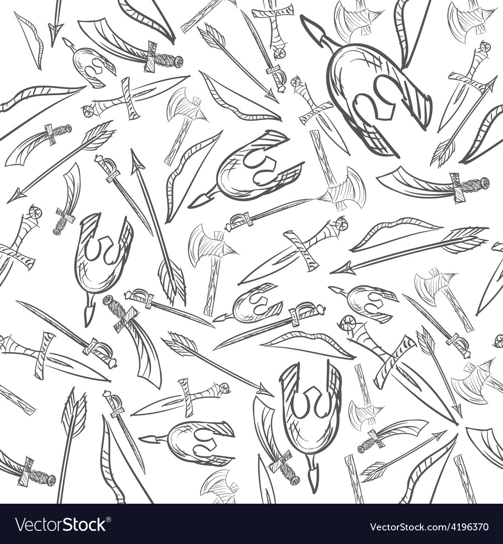 Hand drawn weapons seamless pattern vector | Price: 1 Credit (USD $1)