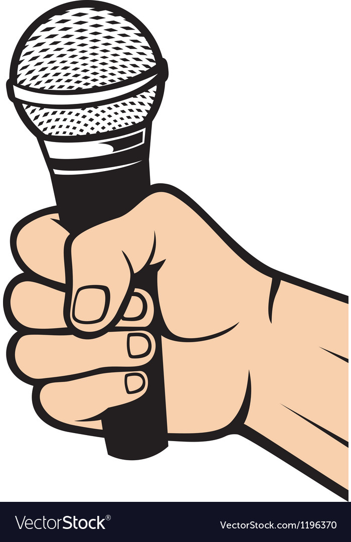 Hand holding a microphone vector | Price: 1 Credit (USD $1)