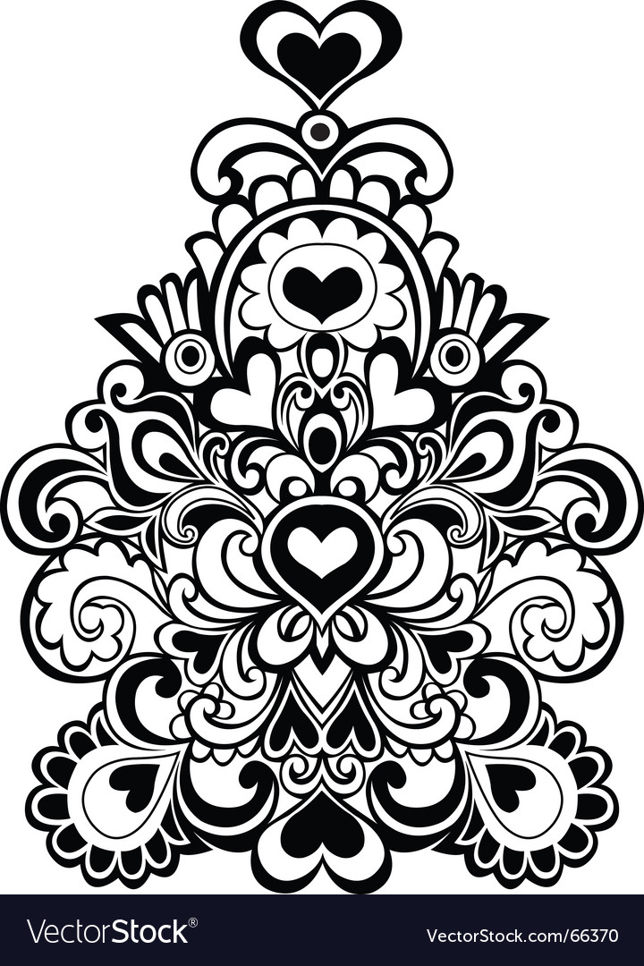 Heart flowers emblem vector | Price: 1 Credit (USD $1)