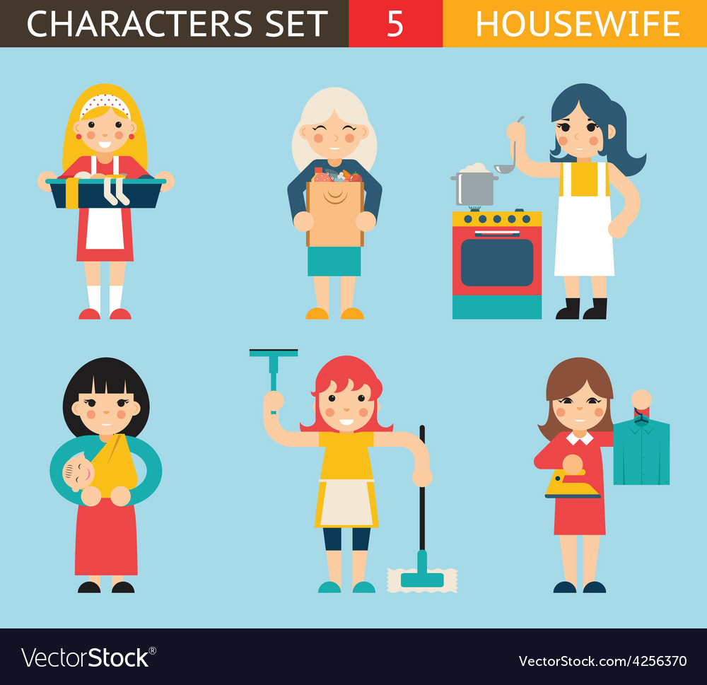 Housewife characters icon set symbol with vector | Price: 1 Credit (USD $1)