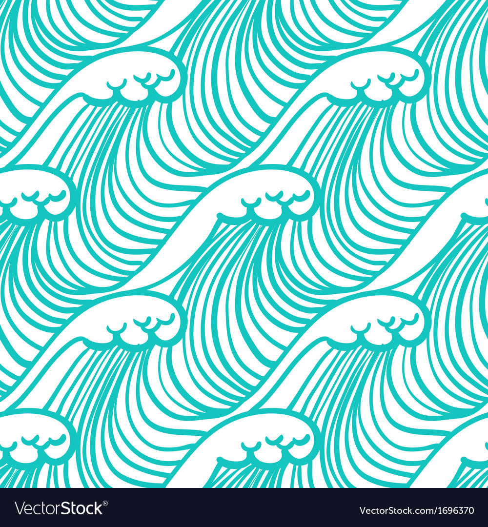 Linear pattern in tropical aqua blue with waves vector | Price: 1 Credit (USD $1)