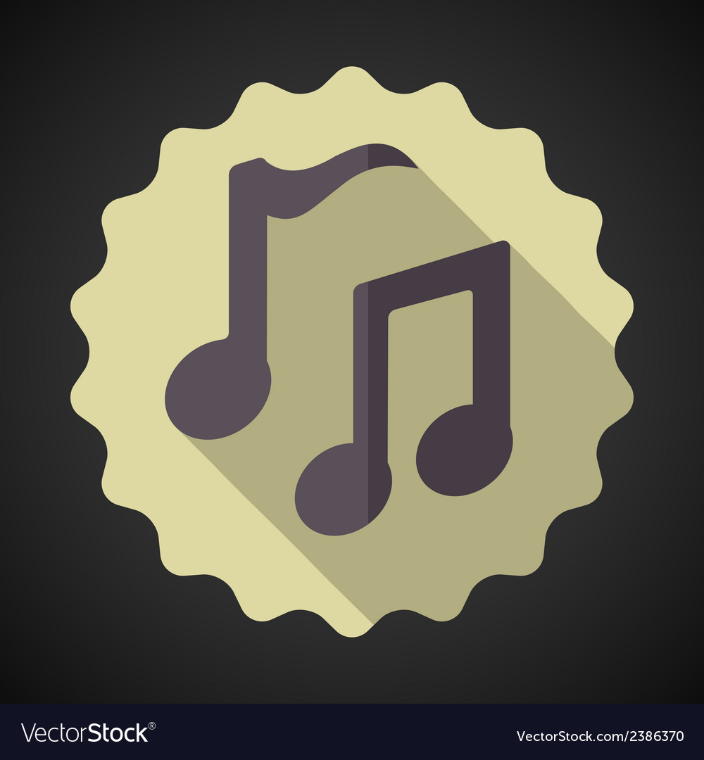 Music note flat icon vector | Price: 1 Credit (USD $1)