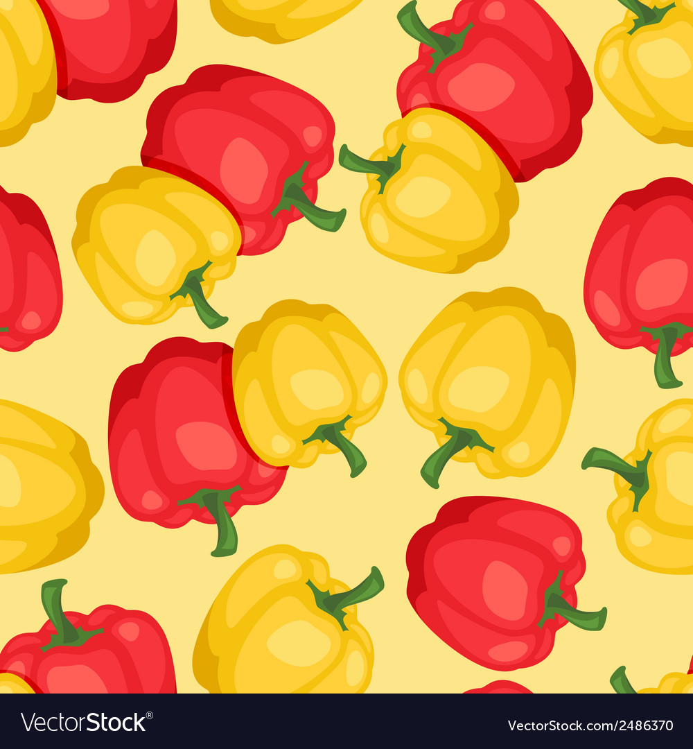 Seamless pattern with fresh ripe peppers vector | Price: 1 Credit (USD $1)