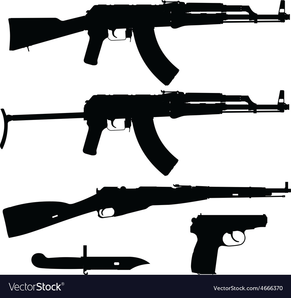 Silhouettes of firearms vector | Price: 1 Credit (USD $1)