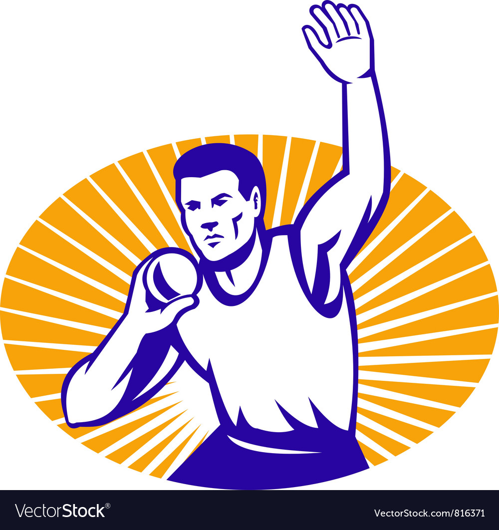 Athlete shot put throw retro vector | Price: 1 Credit (USD $1)