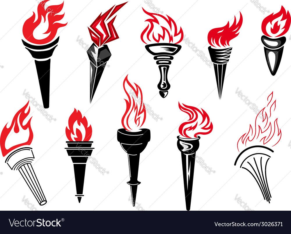Flaming torch icons vector | Price: 1 Credit (USD $1)