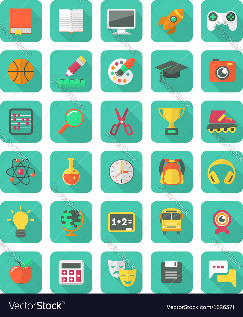 Flat education and leisure icons set vector | Price: 3 Credit (USD $3)