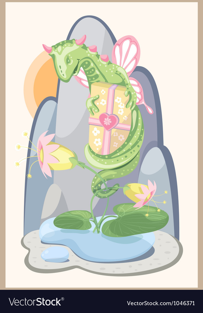 Floral green dragon with a gift and delicate vector | Price: 1 Credit (USD $1)