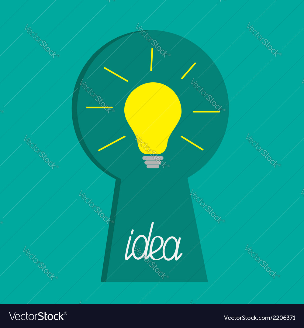 Keyhole and idea light bulb inside flat design vector | Price: 1 Credit (USD $1)