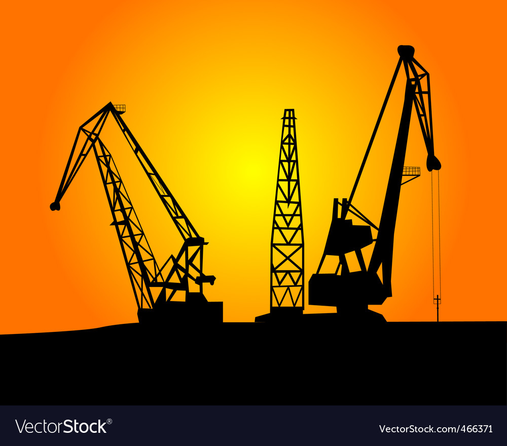 Port cargo cranes vector | Price: 1 Credit (USD $1)