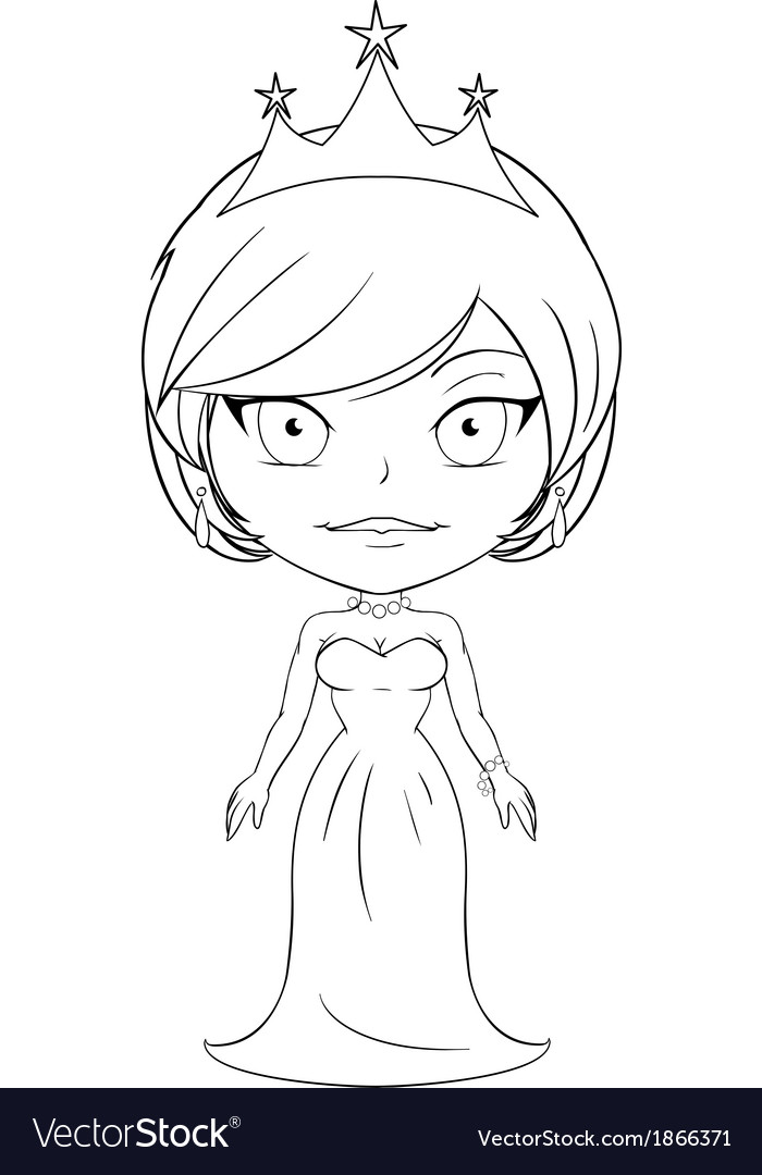 Princess coloring page 3 vector | Price: 1 Credit (USD $1)