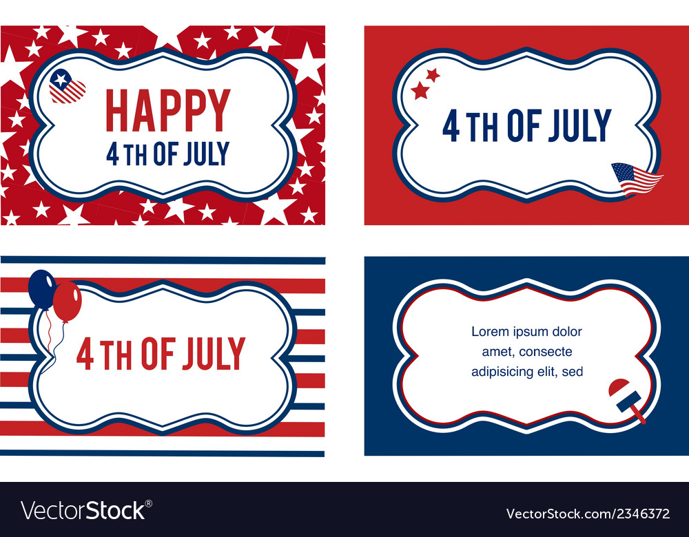 4th of july labels or cards vector | Price: 1 Credit (USD $1)