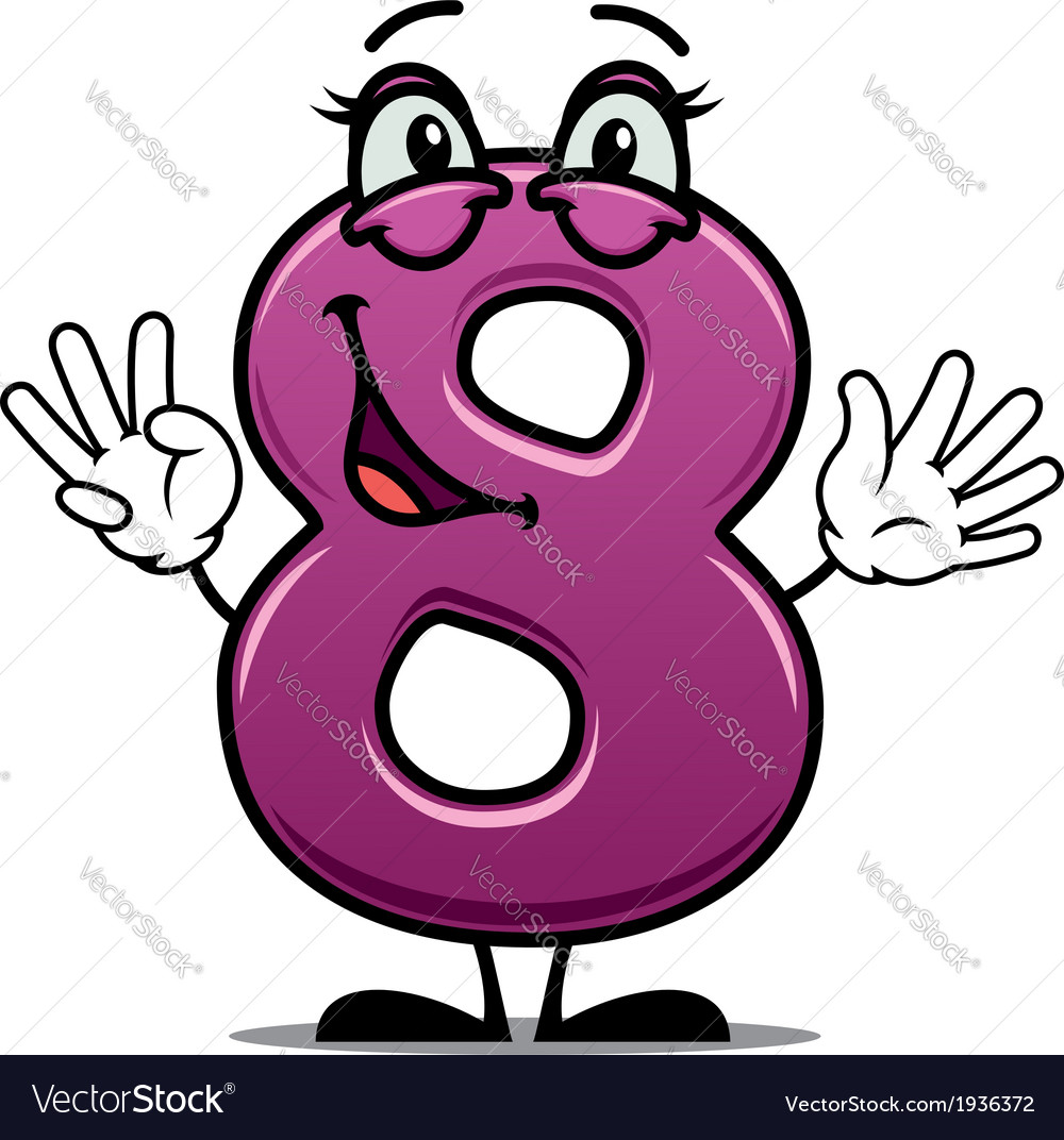 Adorable happy number 8 vector | Price: 1 Credit (USD $1)