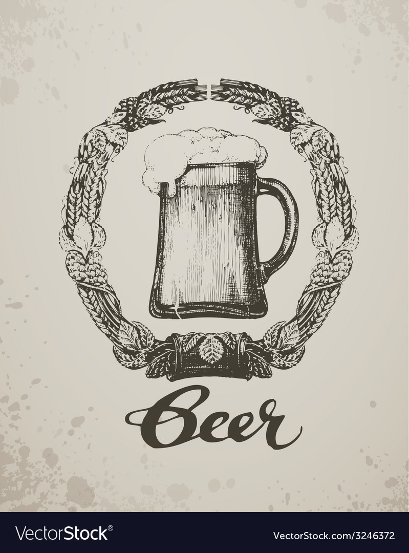 Beer sketch oktoberfest festival hand-drawn vector | Price: 1 Credit (USD $1)