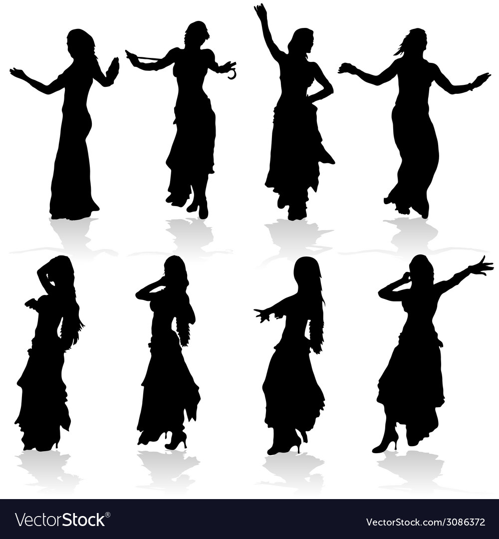 Belly dancing black woman silhouette vector