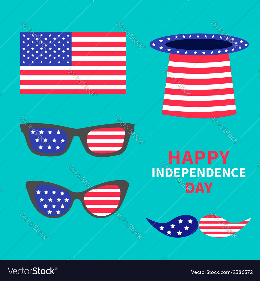 Glasses mustaches hat flag set happy independence vector | Price: 1 Credit (USD $1)