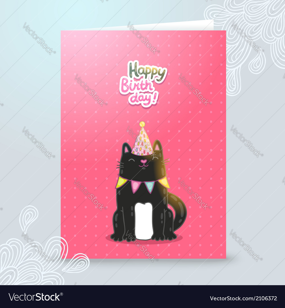 Happy birthday postcard template with a cat vector | Price: 1 Credit (USD $1)