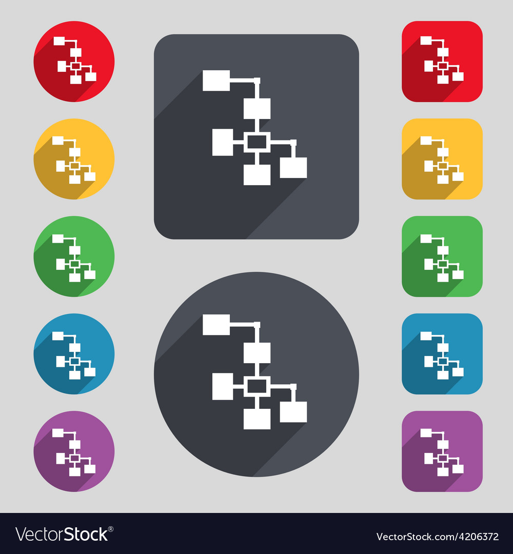 Local network icon sign a set of 12 colored vector | Price: 1 Credit (USD $1)