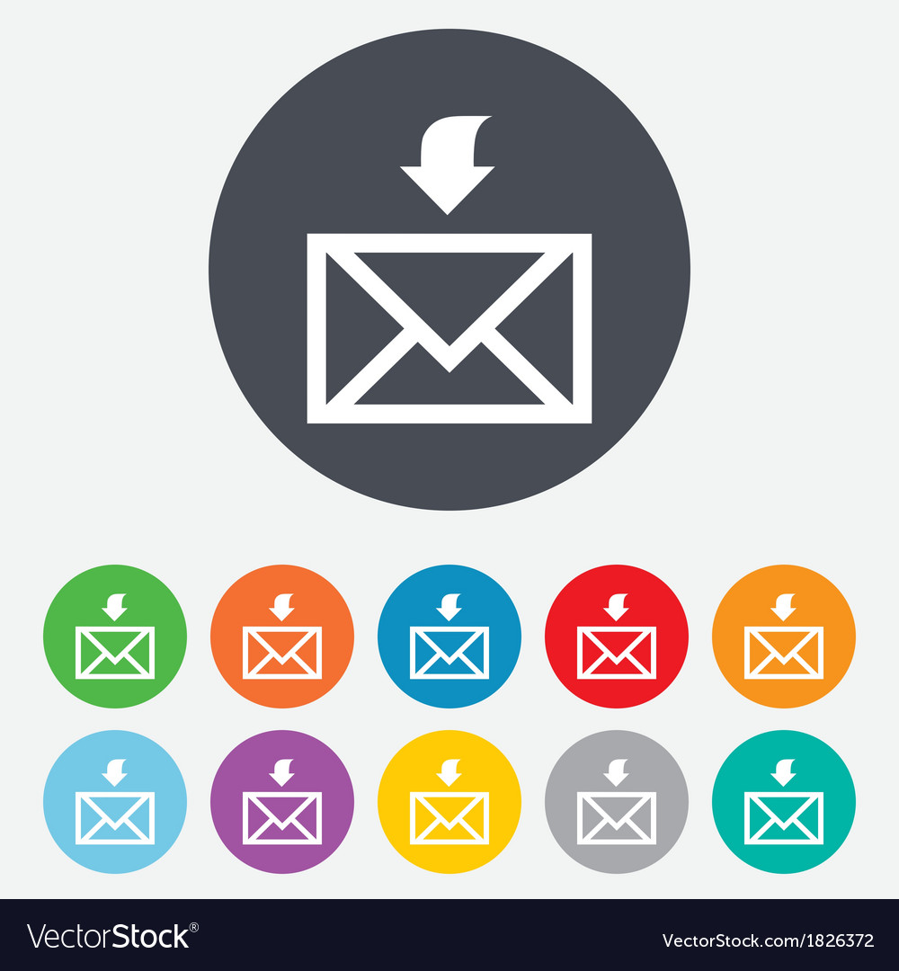 Mail receive icon envelope symbol get message vector | Price: 1 Credit (USD $1)