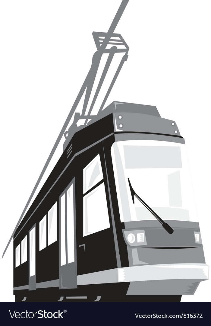 Modern streetcar tram train vector | Price: 1 Credit (USD $1)