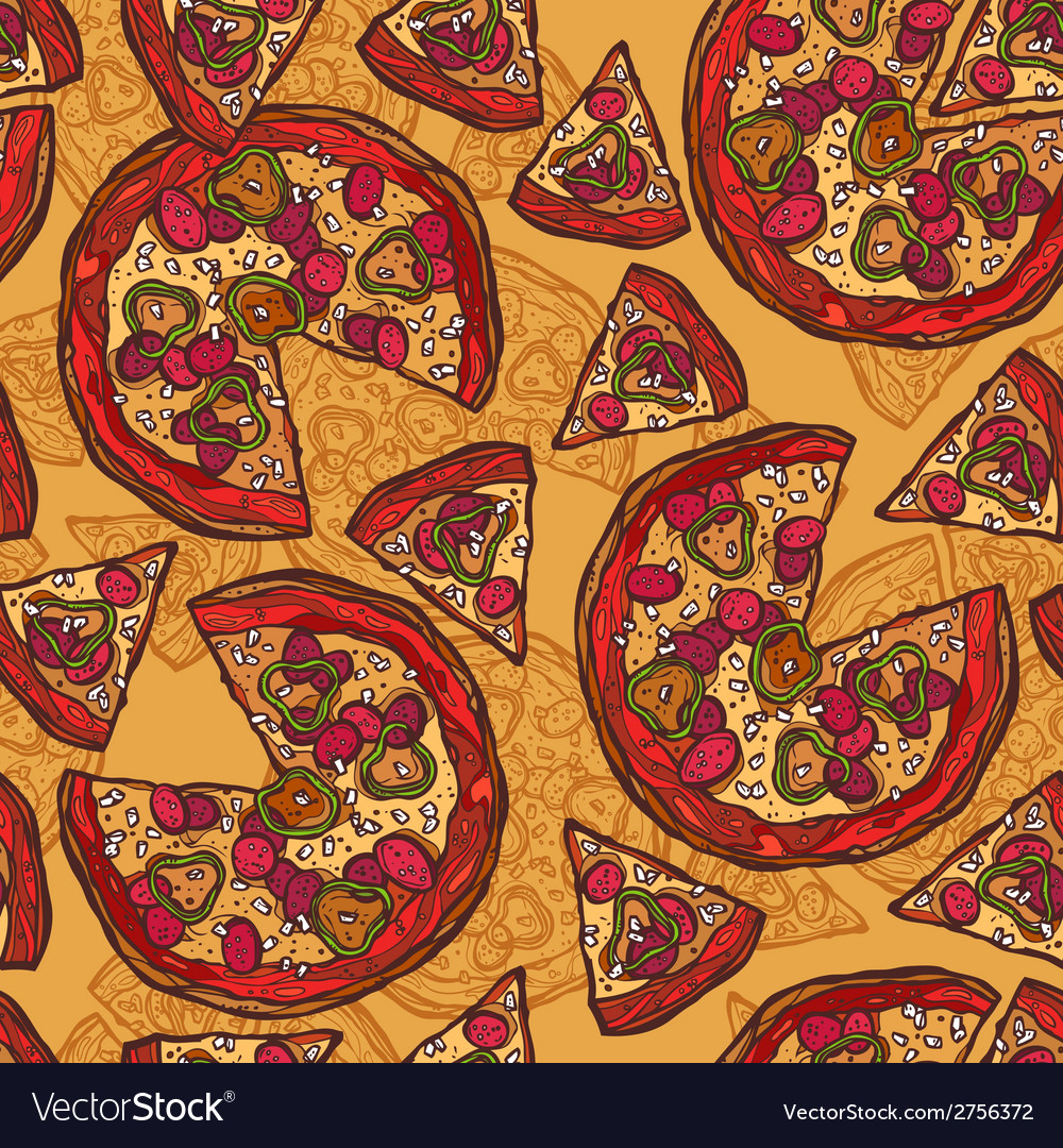 Pizza sketch seamless pattern vector | Price: 1 Credit (USD $1)