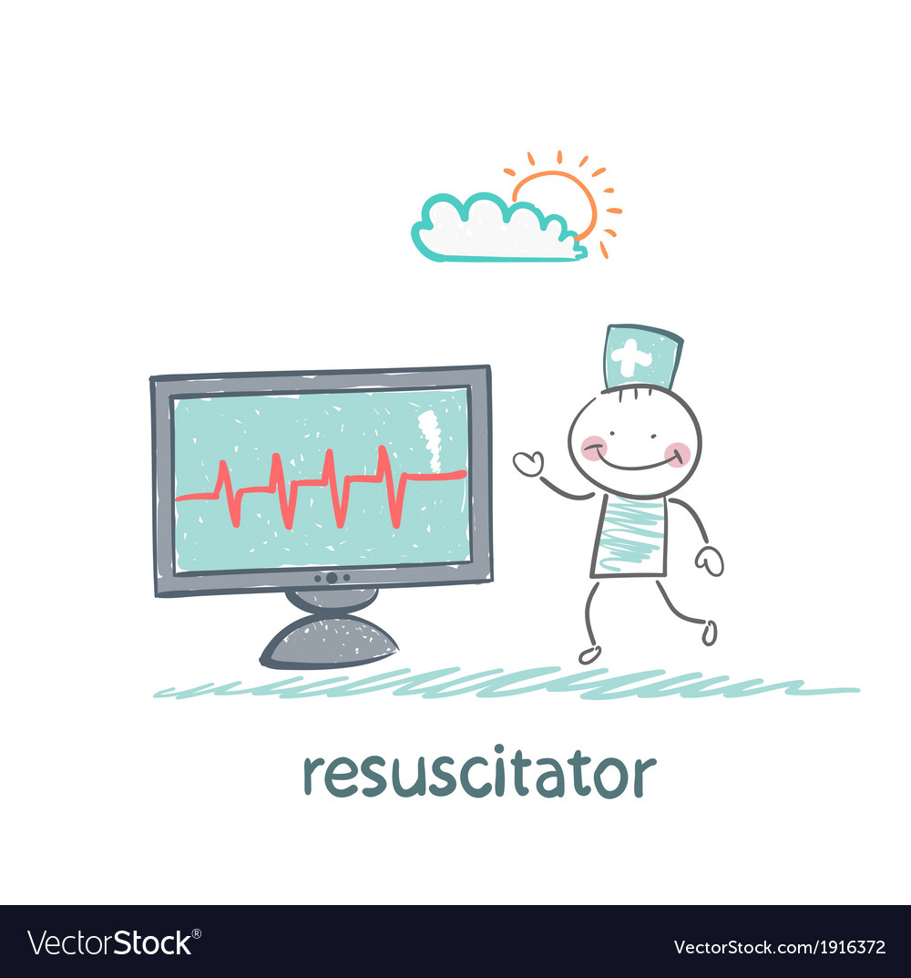 Resuscitation is a monitor shows the heartbeat vector | Price: 1 Credit (USD $1)