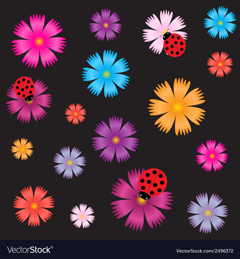 Seamless ladybugs and flowers vector | Price: 1 Credit (USD $1)