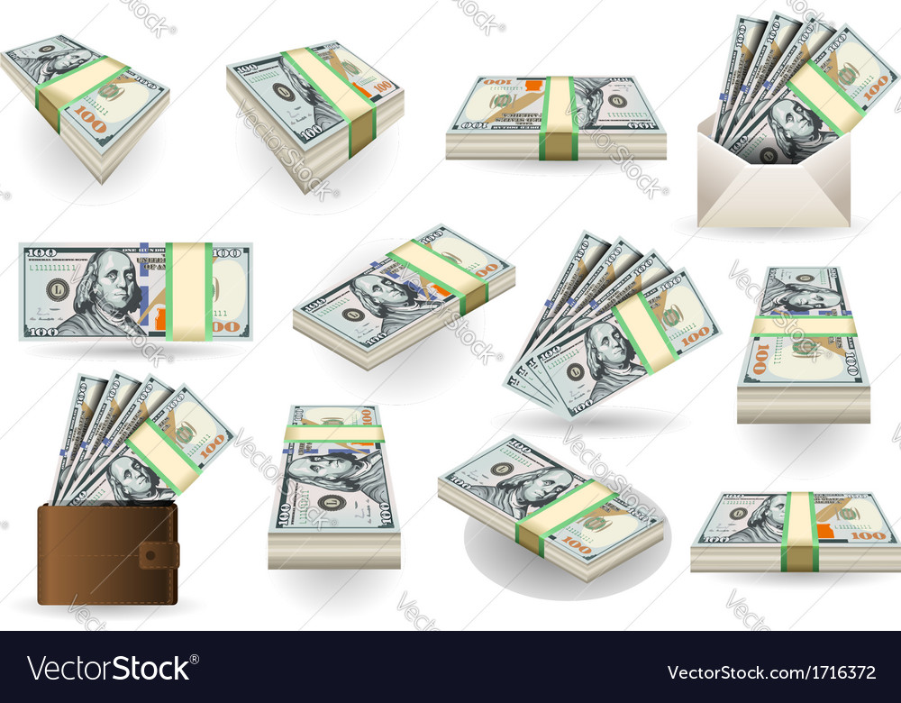 Set of one hundred dollars banknotes vector   Price: 1 Credit (USD $1)
