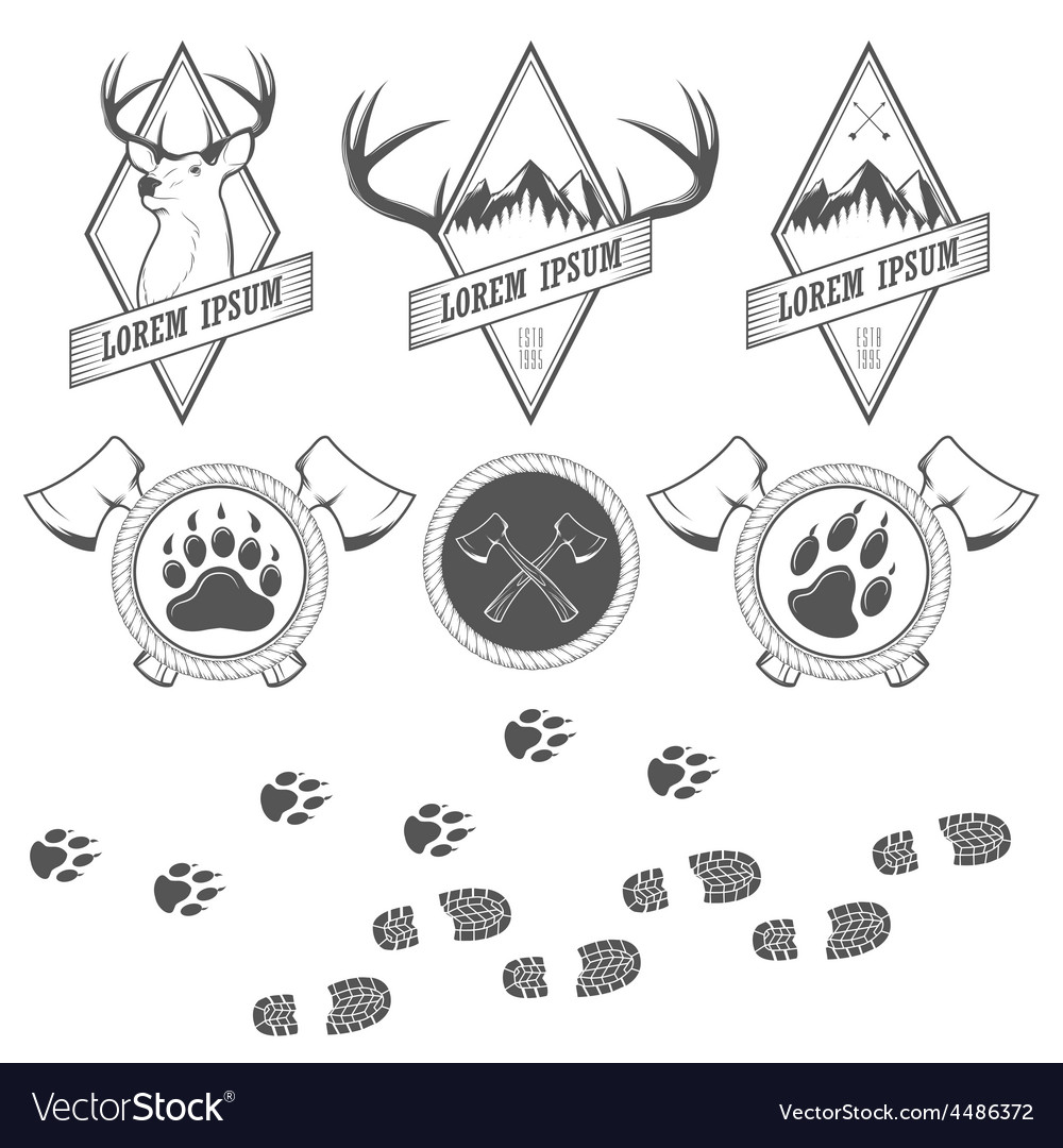 Vintage camping labels badges and design elements vector | Price: 1 Credit (USD $1)