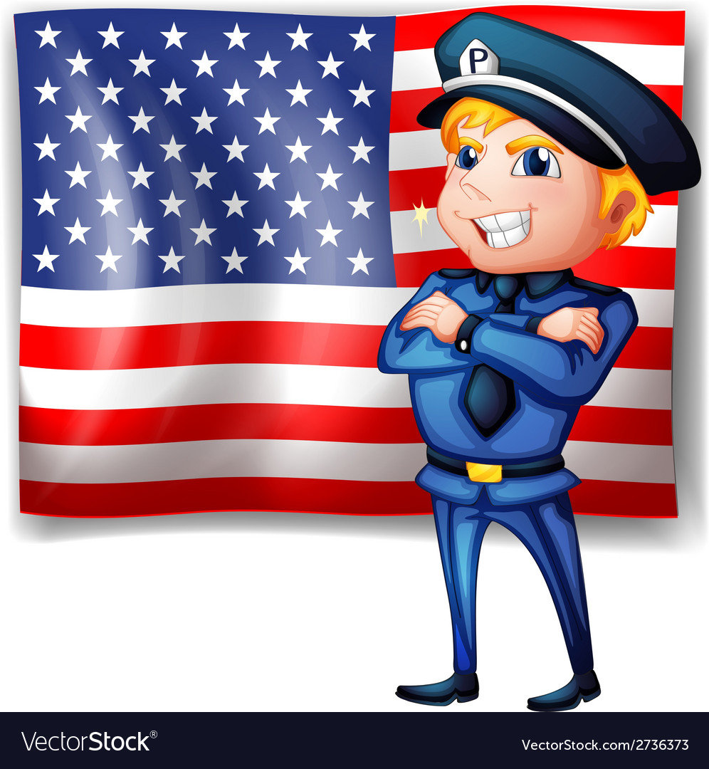 A police near the usa flag vector | Price: 1 Credit (USD $1)