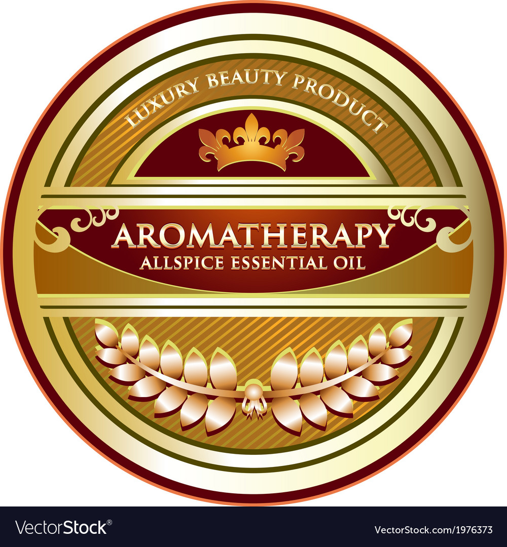 Allspice essential oil label vector | Price: 1 Credit (USD $1)