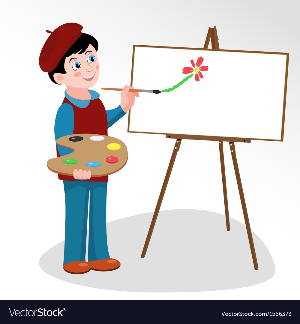 Artist paints picture on easel vector | Price: 1 Credit (USD $1)