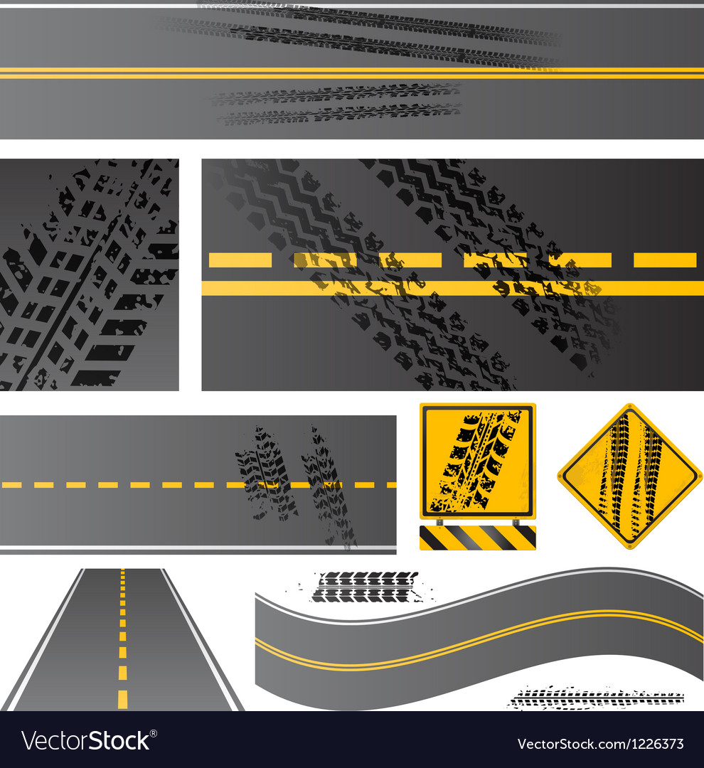 Asphalt road with tire tracks vector | Price: 1 Credit (USD $1)
