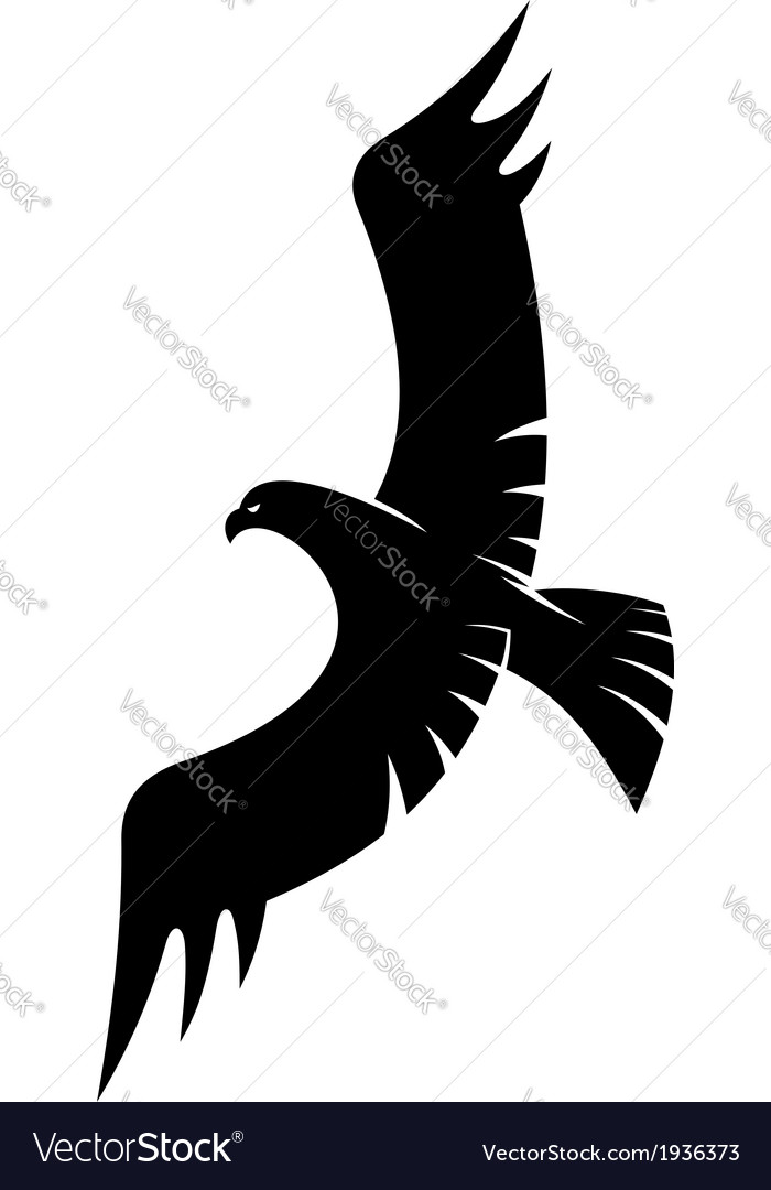 Black eagle flying with spread wings vector | Price: 1 Credit (USD $1)