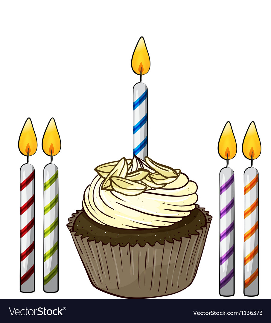 Cupcake and candles vector | Price: 1 Credit (USD $1)