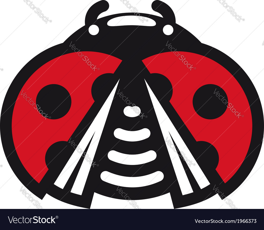Cute little red spotted cartoon ladybug icon vector | Price: 1 Credit (USD $1)