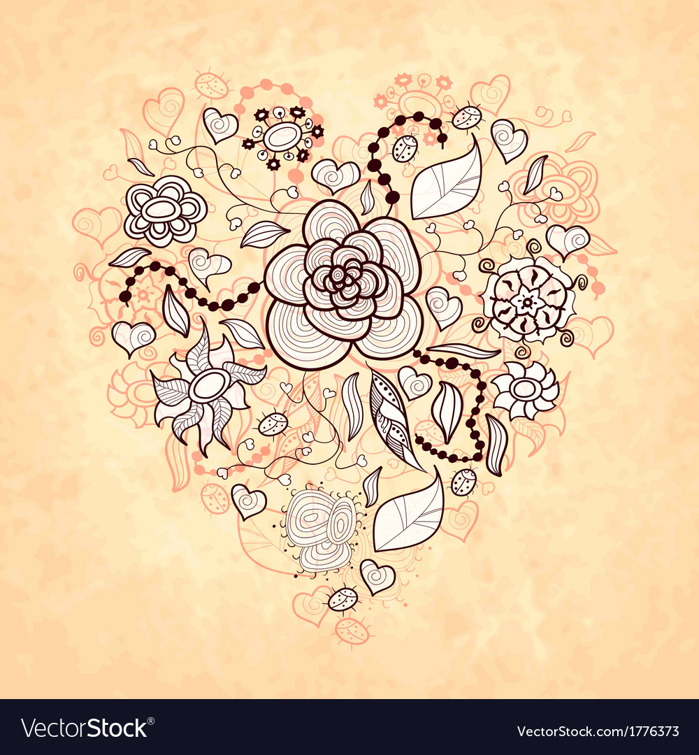 Floral doodle heart of flowers leaves vector | Price: 1 Credit (USD $1)