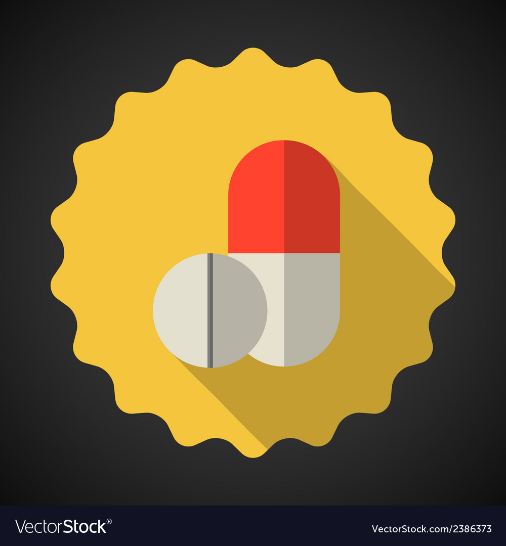 Medical pill flat icon vector | Price: 1 Credit (USD $1)