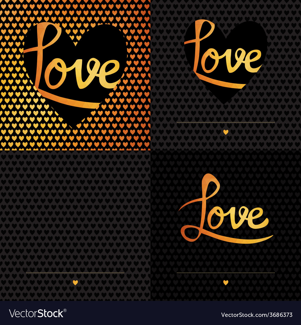 Set of 4 posters romantic greeting card with vector | Price: 1 Credit (USD $1)