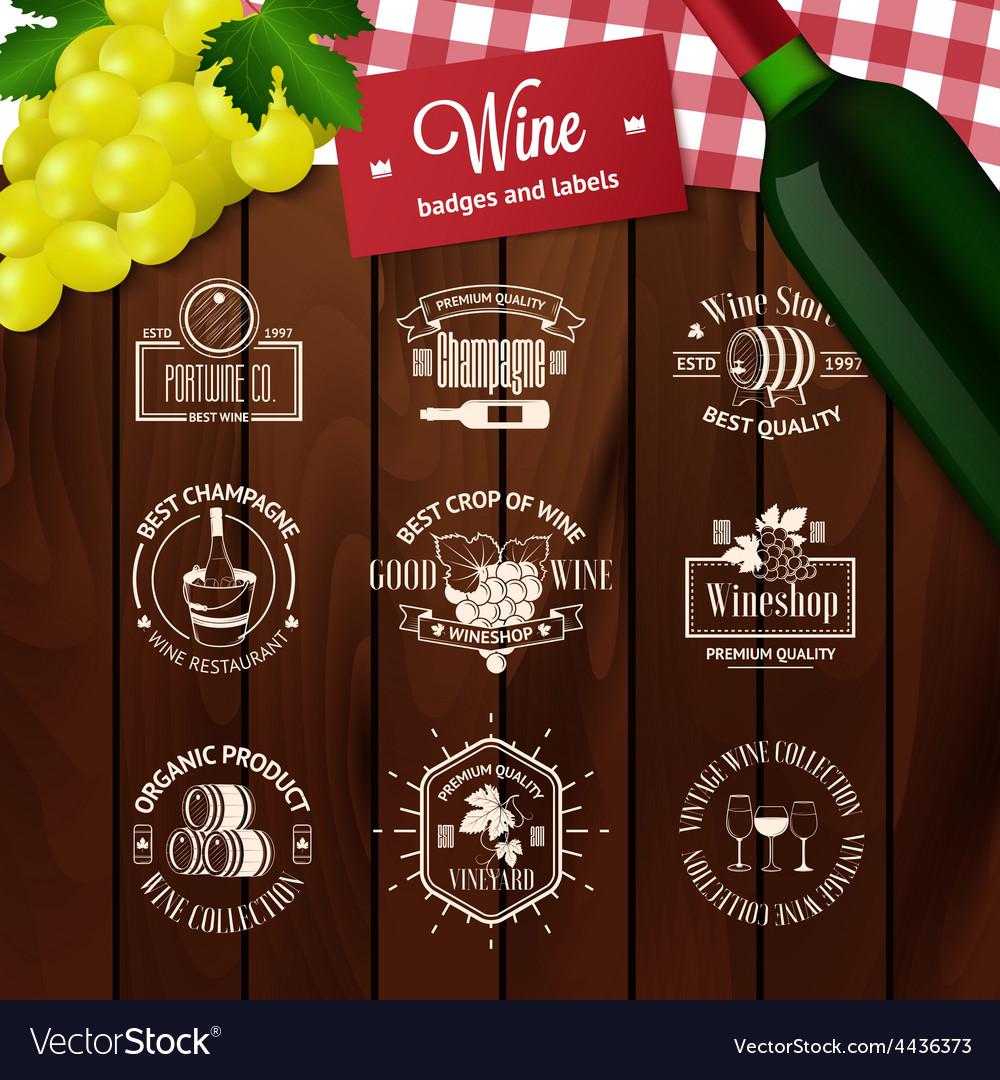 Set of elegant wine badges and labels vintage vector | Price: 1 Credit (USD $1)